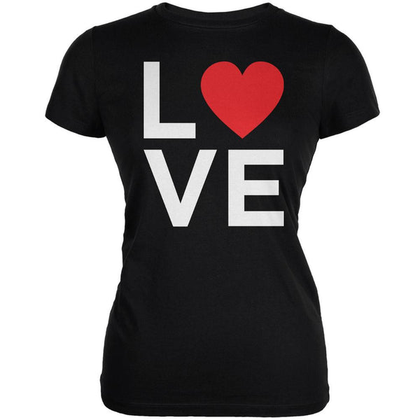 Valentine's Day Love Stacked Heart Black Juniors Soft T-Shirt