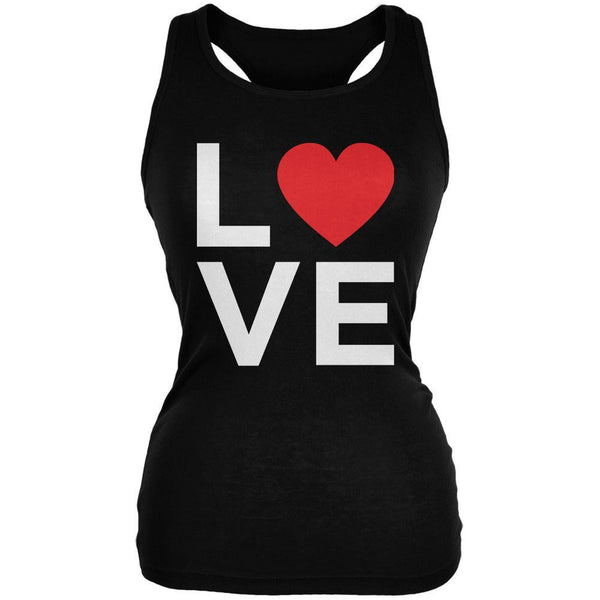 Valentine's Day Love Stacked Heart Black Juniors Soft Tank Top