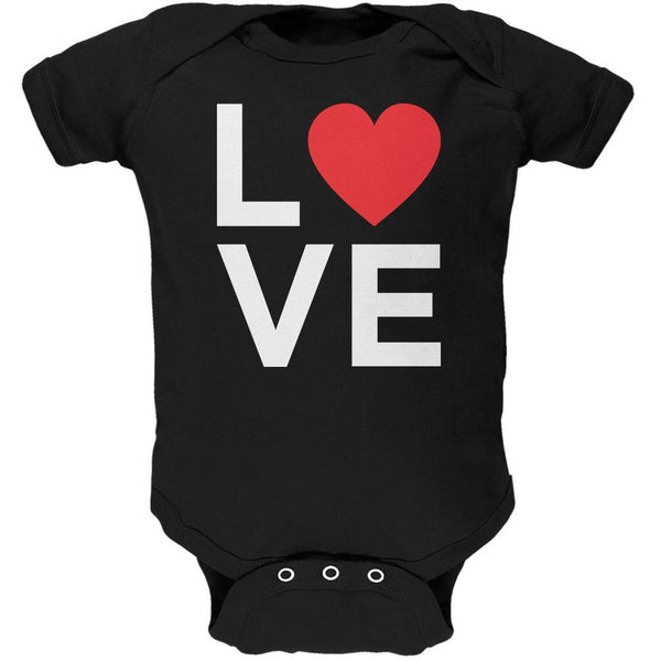 Valentine's Day Love Stacked Heart Black Soft Baby One Piece