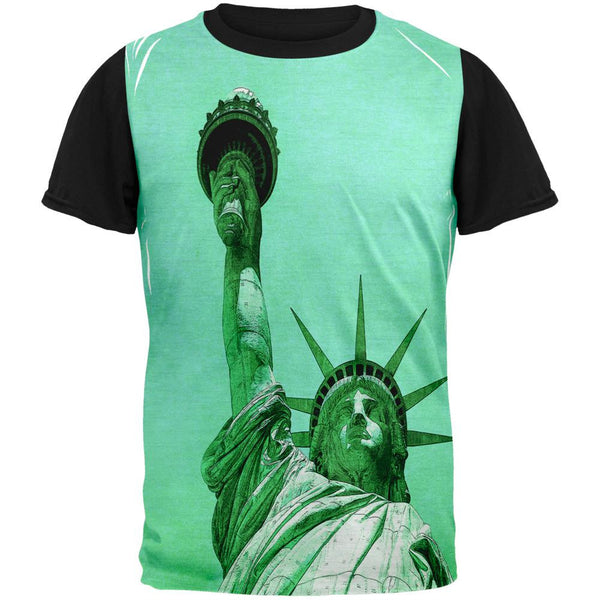 New York City Statue Of Liberty Pete Cohen Adult Black Back T-Shirt
