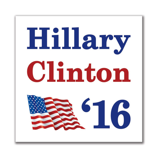 Election 2016 '16 Flag Hillary Clinton 4in. Square Sticker