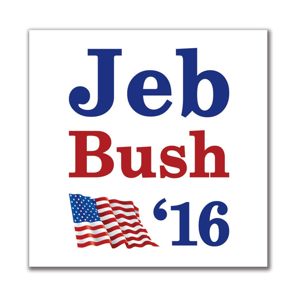 Election 2016 '16 Flag Jeb Bush 4in. Square Sticker