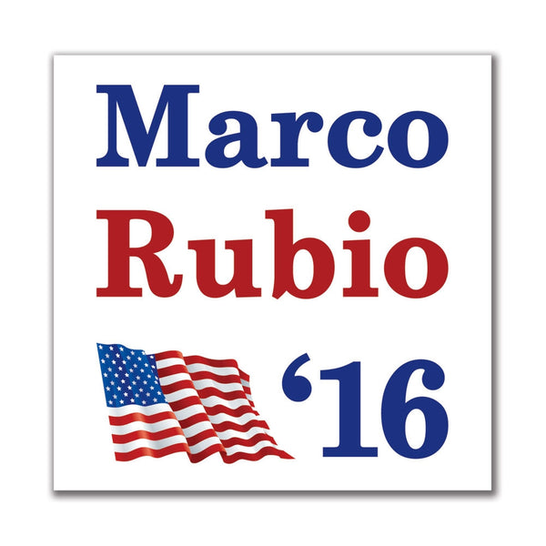 Election 2016 '16 Flag Marco Rubio 4in. Square Sticker