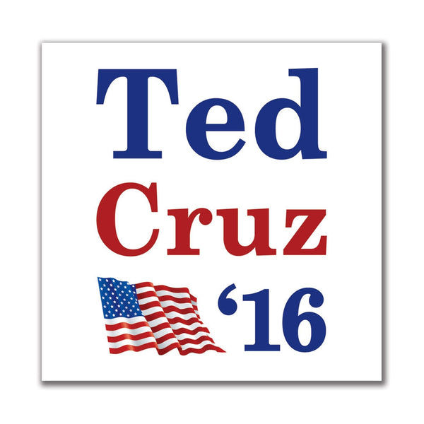Election 2016 '16 Flag Ted Cruz 4in. Square Sticker