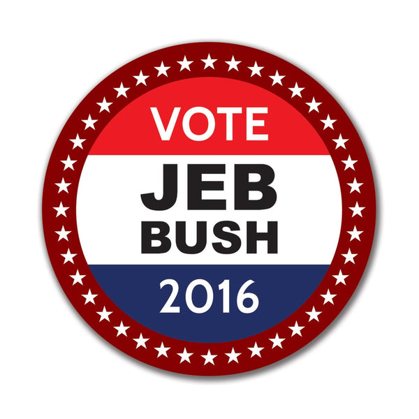 Election 2016 Badge Jeb Bush 4in. Round Sticker
