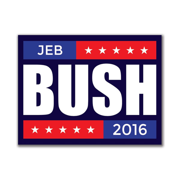 Election 2016 Jeb Bush Stacked 3x4in. Rectangular Sticker