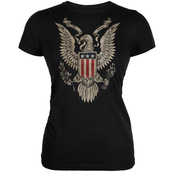 4th of July Born Free Vintage American Bald Eagle Black Juniors T-Shirt