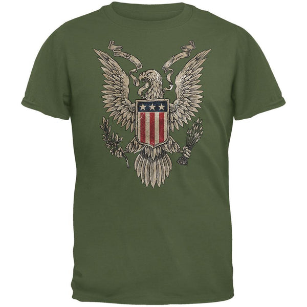 4th of July Born Free American Bald Eagle Military Green Adult T-Shirt