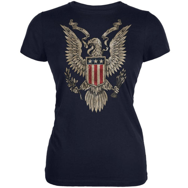4th July Born Free Vintage American Bald Eagle Navy Juniors T-Shirt