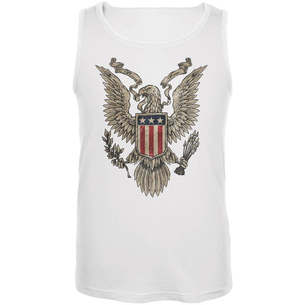 4th July Born Free Vintage American Bald Eagle White Adult Tank Top