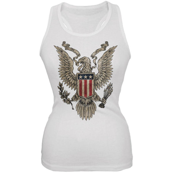 4th July Born Free Vintage American Bald Eagle White Juniors Tank Top