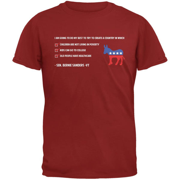Election 2016 Bernie Sanders Create a Country Quote Red Adult T-Shirt