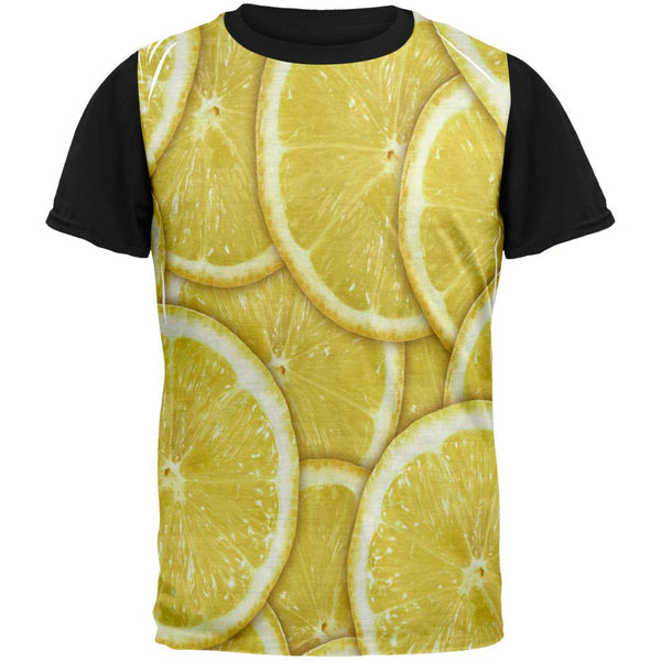 Lemon Lemons Citrus Adult Black Back T-Shirt