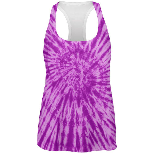 Purple Tie Dye All Over Womens Work Out Tank Top