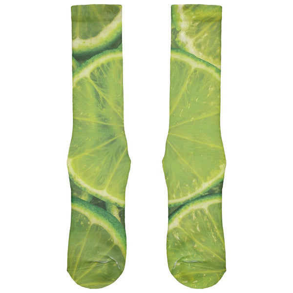 Lime Limes Citrus All Over Crew Socks
