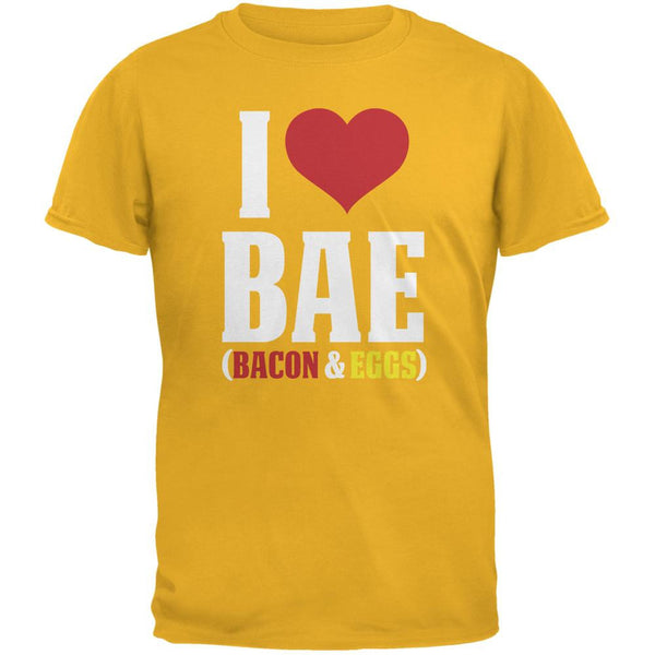 I heart Bae Bacon and Eggs Gold Adult T-Shirt