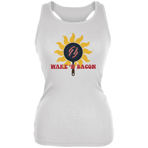 Wake 'n Bacon White Juniors Soft Tank Top