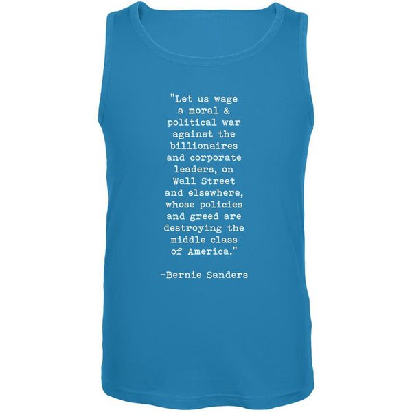Election 2016 Bernie Sanders Quote Moral War Turquoise Adult Tank Top