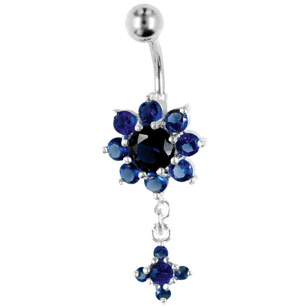 14G 7/16 Blue Bangle Gem Flower Belly Barbell
