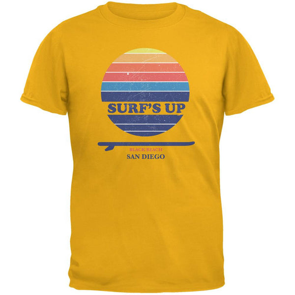 Surf's Up San Diego Beach Gold Adult T-Shirt