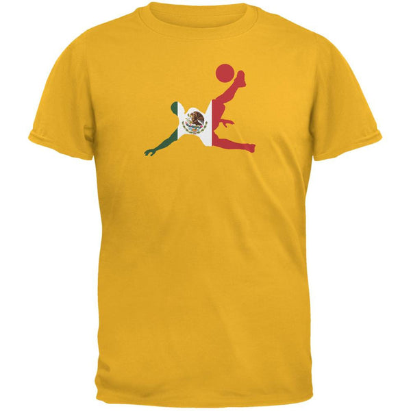World Cup Mexico Soccer Kick Flag Silhouette Gold Adult T-Shirt
