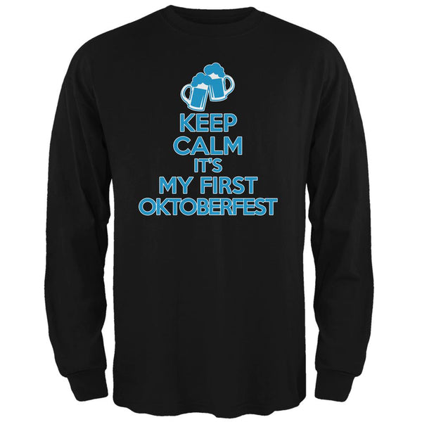 Oktoberfest Keep Calm First Funny Black Adult Long Sleeve T-Shirt