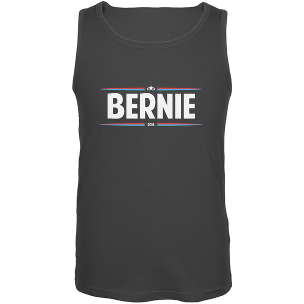 Election 2016 - Bernie Thin Stripes Charcoal Grey Adult Tank Top