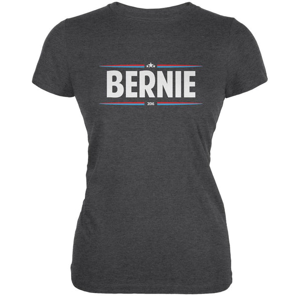 Election 2016 - Bernie Thin Stripes Dark Heather Juniors Soft T-Shirt