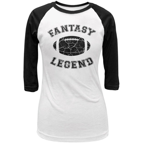 Fantasy Football Distressed Legend White/Black Juniors 3/4 Sleeve Raglan T-Shirt