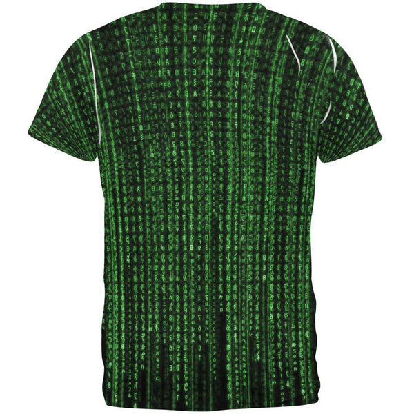 Falling Binary Code All Over Adult T-Shirt