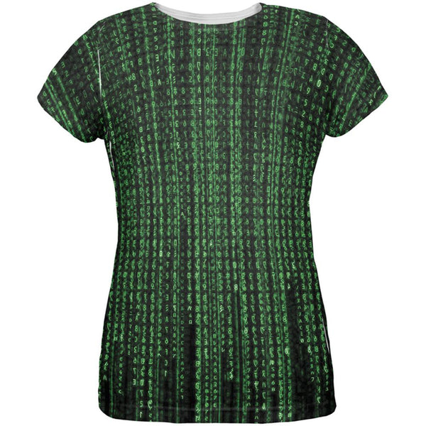 Falling Binary Code All Over Womens T-Shirt