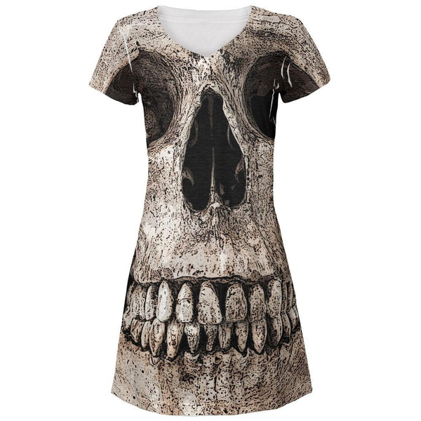 Big Skull All Over Juniors V-Neck Dress