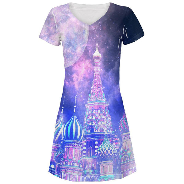 Moscow Russia Galaxy All Over Juniors V-Neck Dress