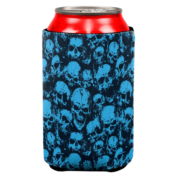 Blue Angry Skulls All Over Can Cooler