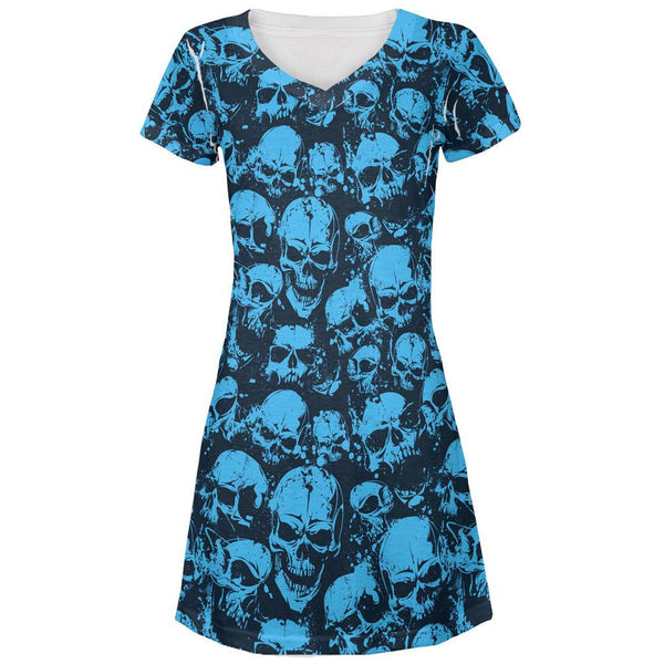 Blue Angry Skulls All Over Juniors V-Neck Dress