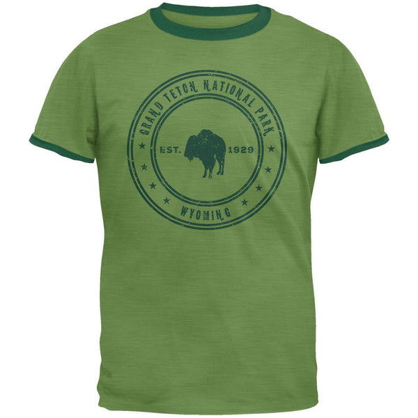 Grand Teton National Park Vintage Heather Green Men's Ringer T-Shirt