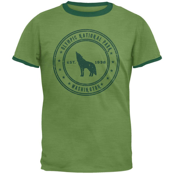 Olympic National Park Vintage Heather Green Men's Ringer T-Shirt