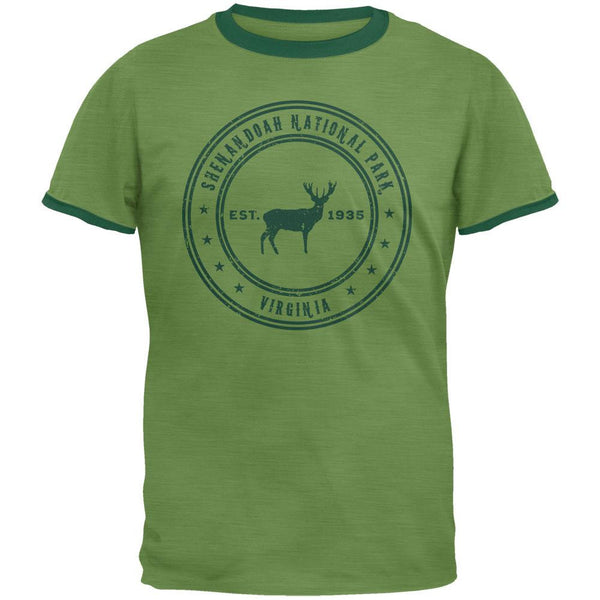 Shenandoah National Park Vintage Heather Green Men's Ringer T-Shirt