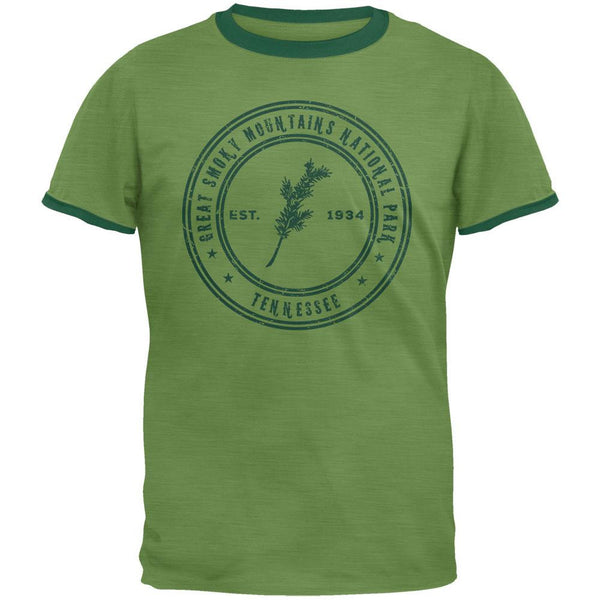 Smoky Mtns National Park Vintage Heather Green Men's Ringer T-Shirt