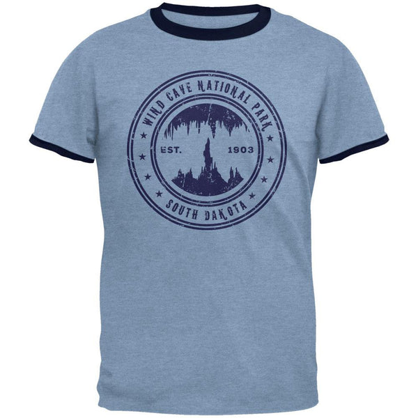 Wind Cave National Park Vintage Heather Blue-Navy Men's Ringer T-Shirt