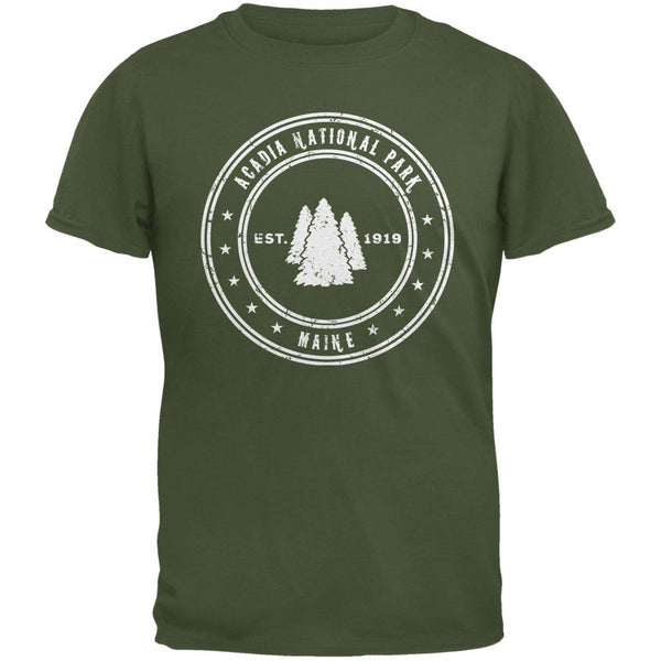 Acadia National Park Military Green Adult T-Shirt