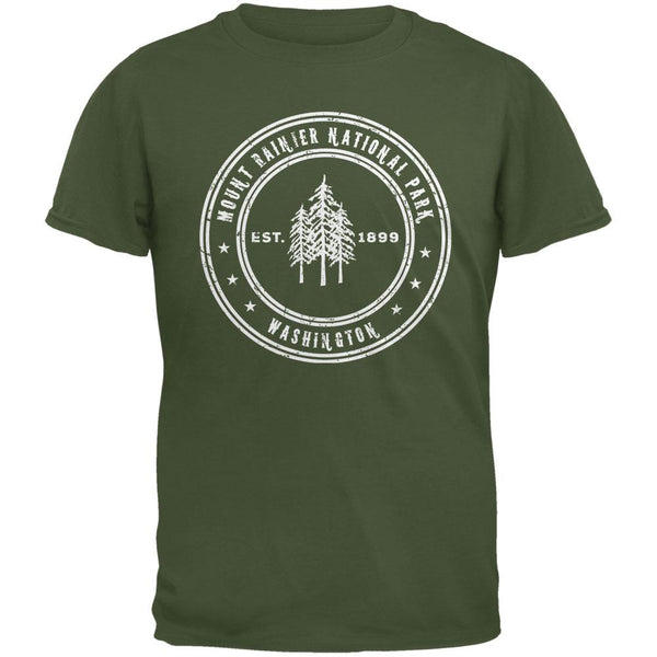 Mount Rainier National Park Military Green Adult T-Shirt