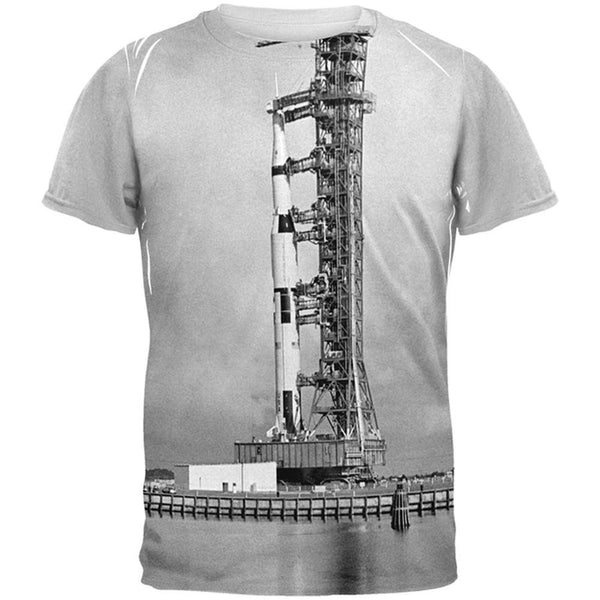 Apollo 8 Saturn 5 Rocket Black and White All Over Adult T-Shirt