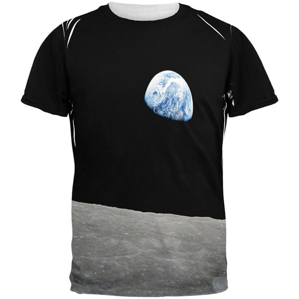 Earth Rising Over the Moon All Over Adult T-Shirt