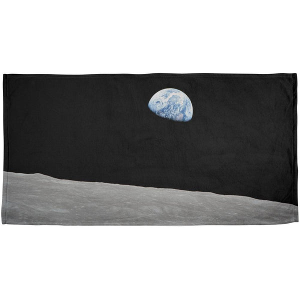Earth Rising Over the Moon All Over Beach Towel