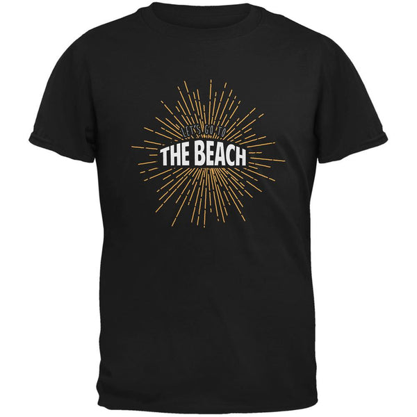Let's Go To The Beach Vintage Sun Rays Black Adult T-Shirt