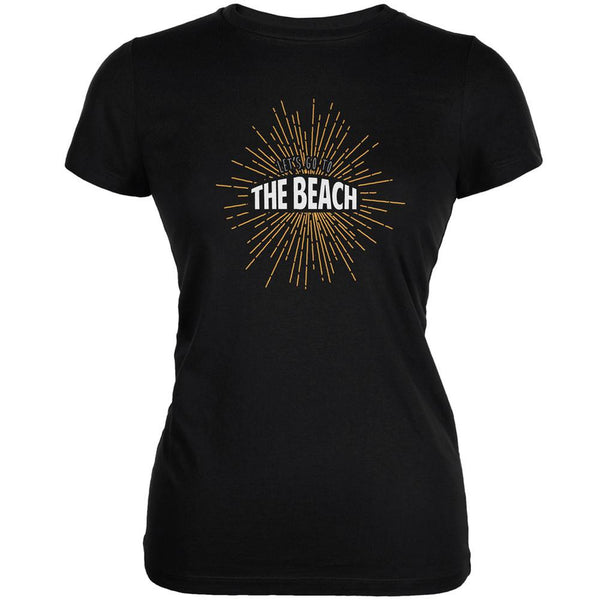 Let's Go To The Beach Vintage Sun Rays Black Juniors Soft T-Shirt