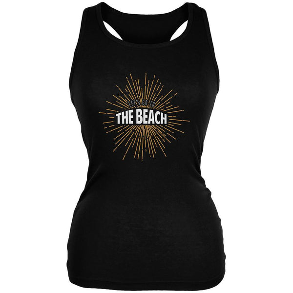 Let's Go To The Beach Vintage Sun Rays Black Juniors Soft Tank Top