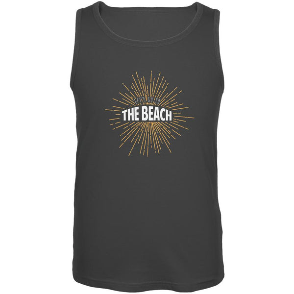 Let's Go To The Beach Vintage Sun Rays Charcoal Grey Adult Tank Top