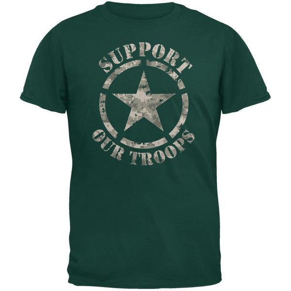 Support Our Troops Camo Star Forest Green Adult T-Shirt